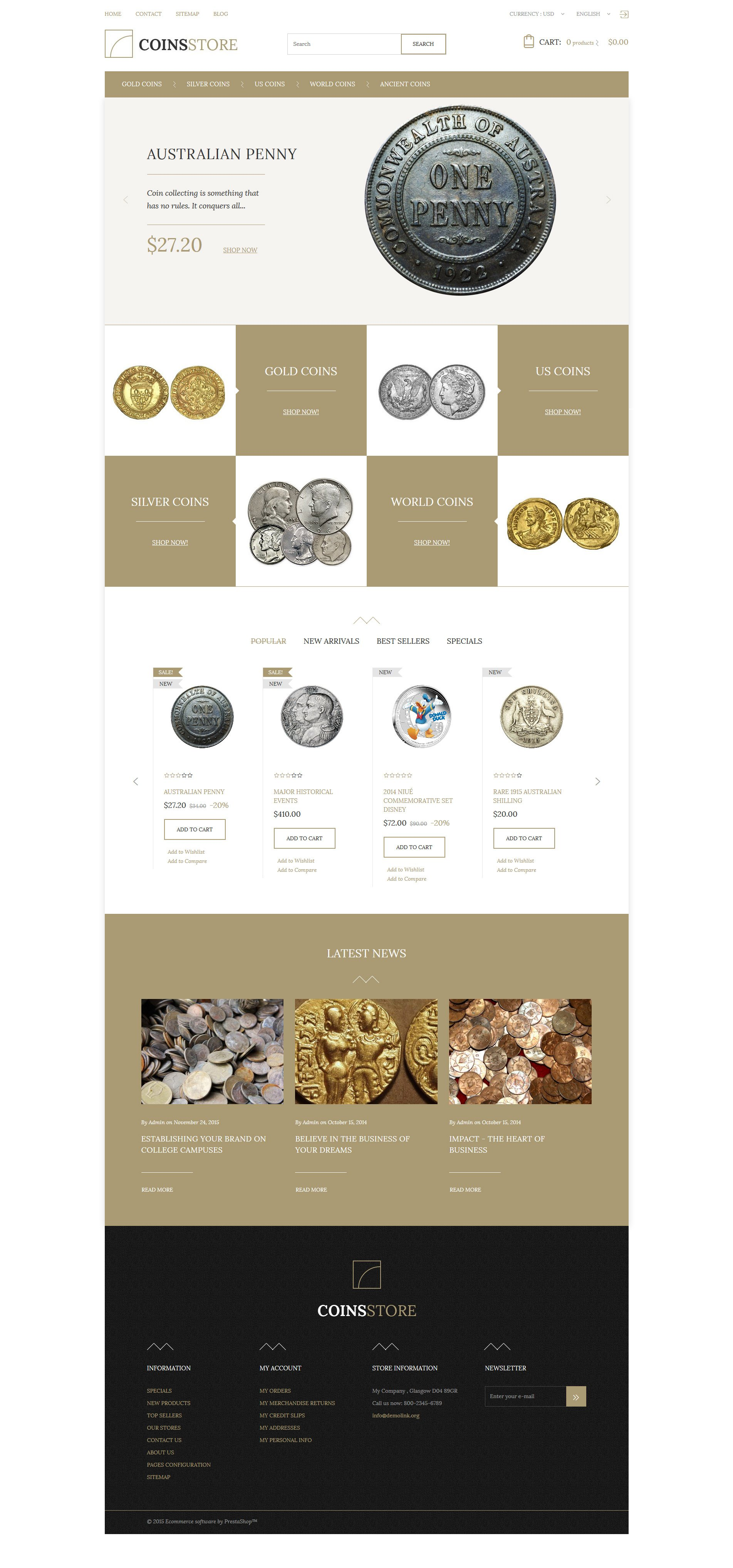 Coin Store PrestaShop Theme