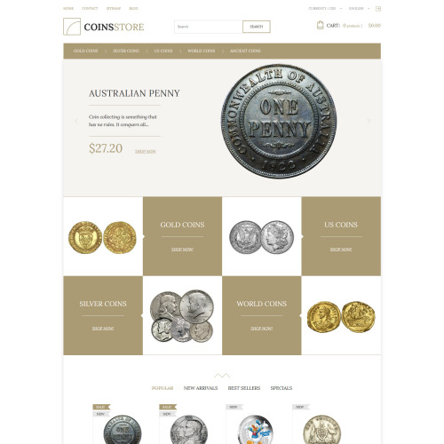 Coins Store - PrestaShop Template based on Bootstrap