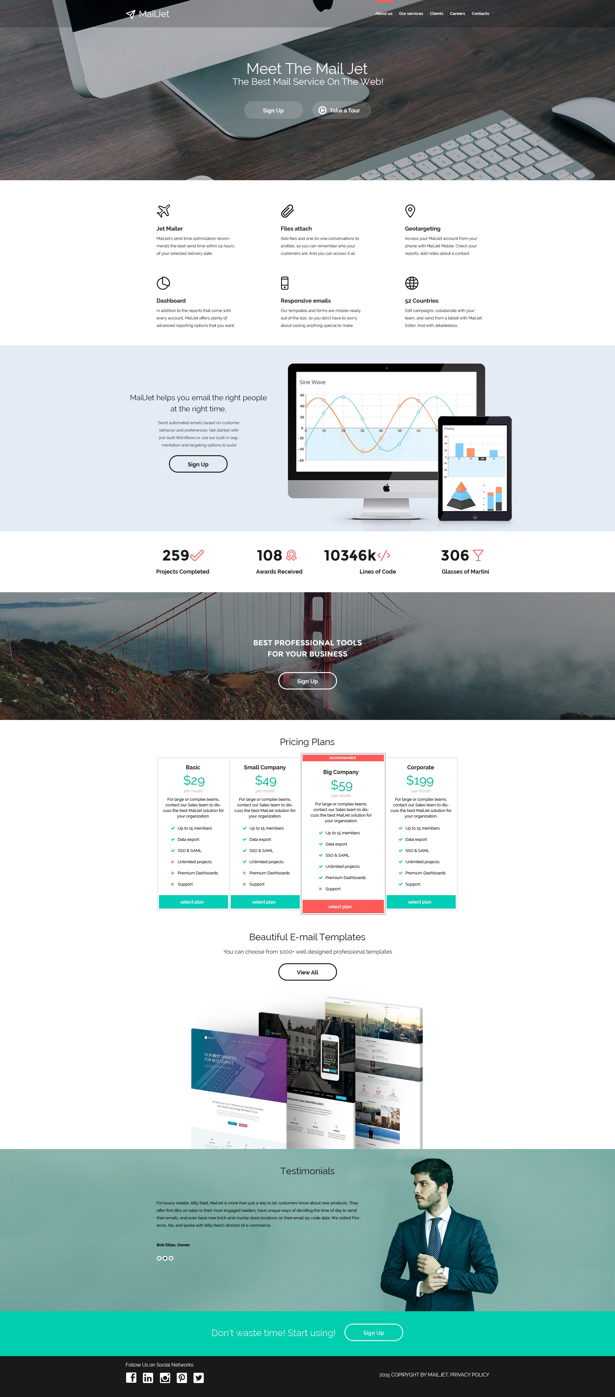 Email Services Responsive Website Template - screenshot