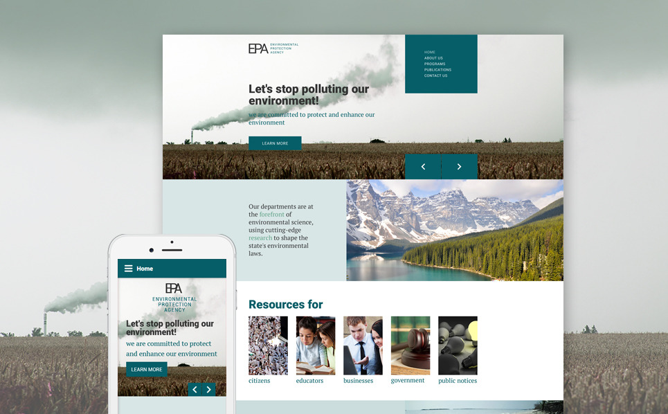 Environmental protection agency website template for Environmental protection plan template