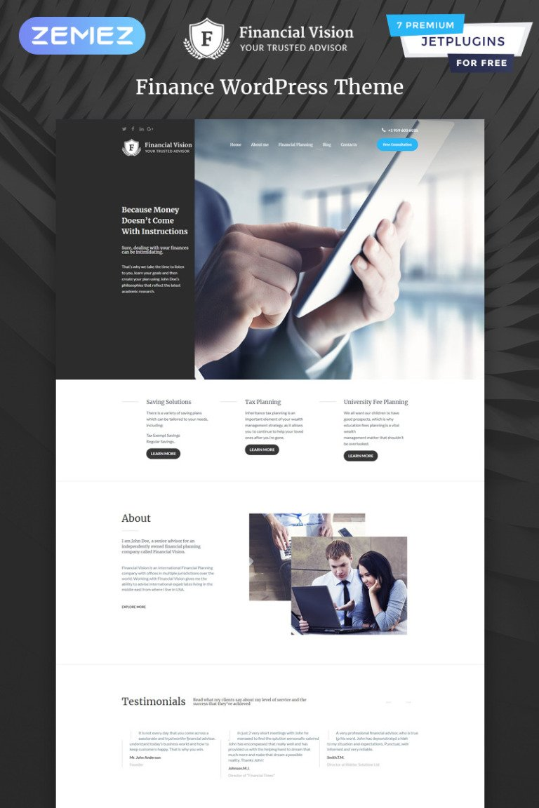 Financial Vision WordPress Theme New Screenshots BIG
