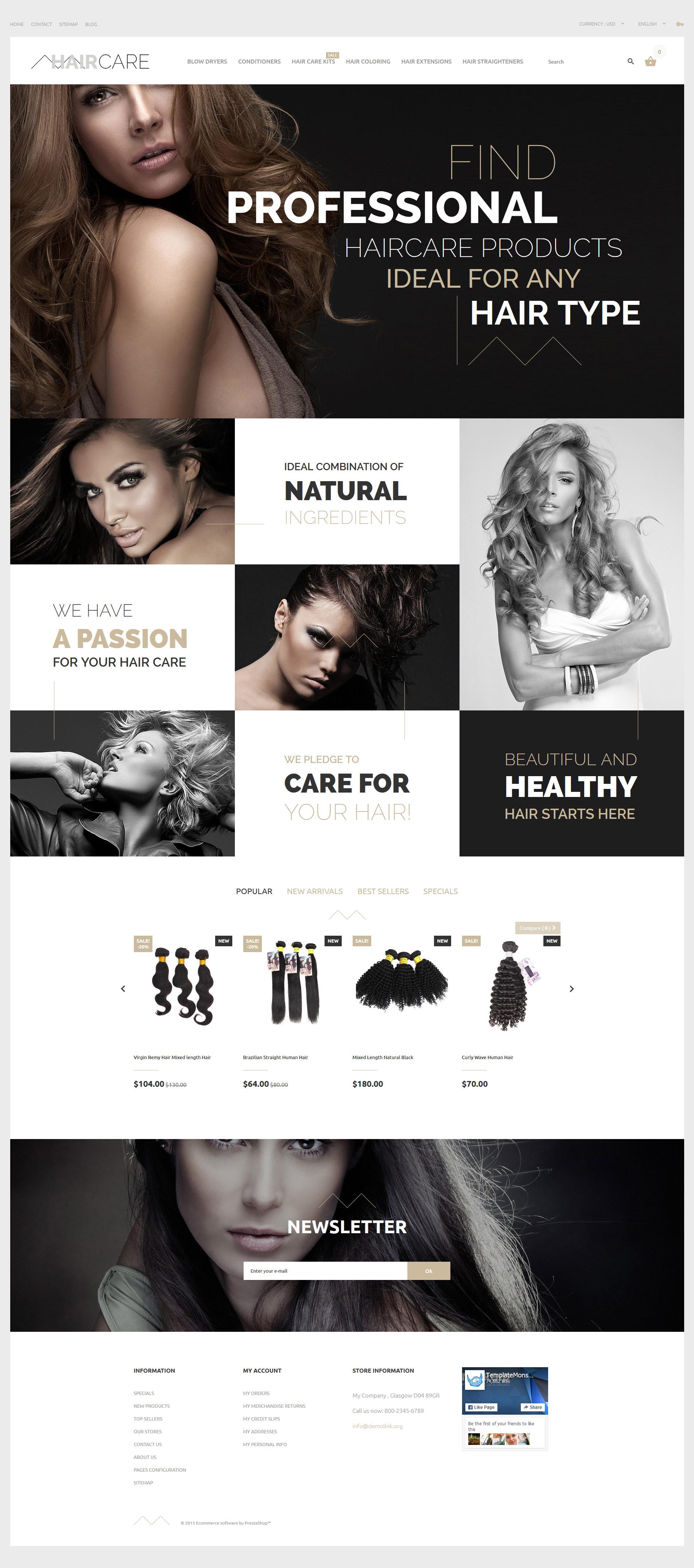 """Hair Care"" Responsive PrestaShop Thema №57705 - screenshot"