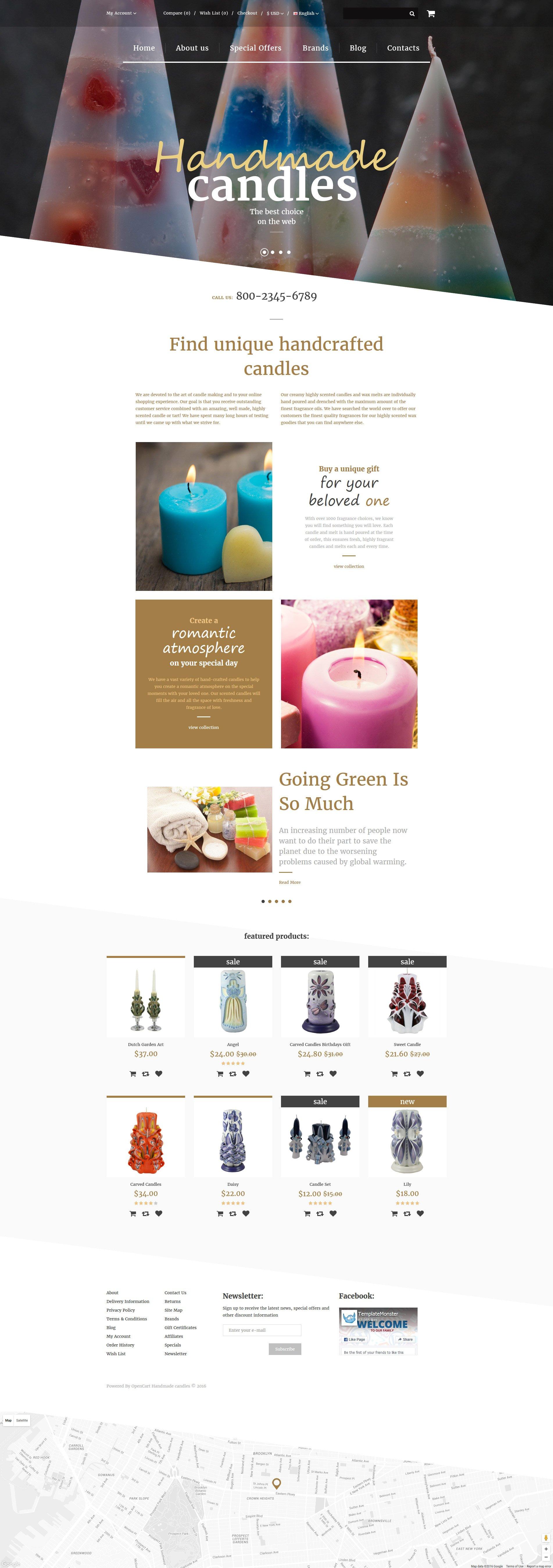 """Handmade Candles"" 响应式OpenCart模板 #57722 - 截图"