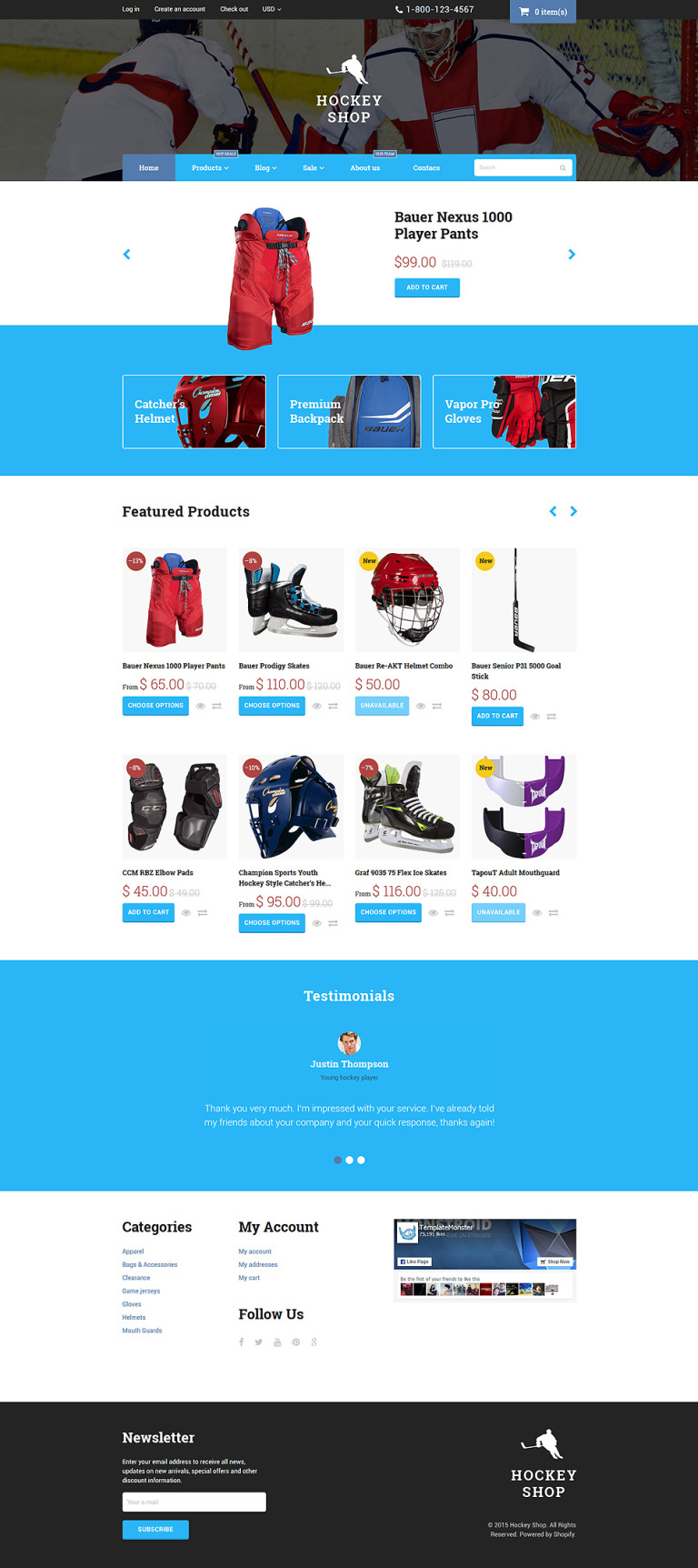 Hockey Shopify Theme New Screenshots BIG