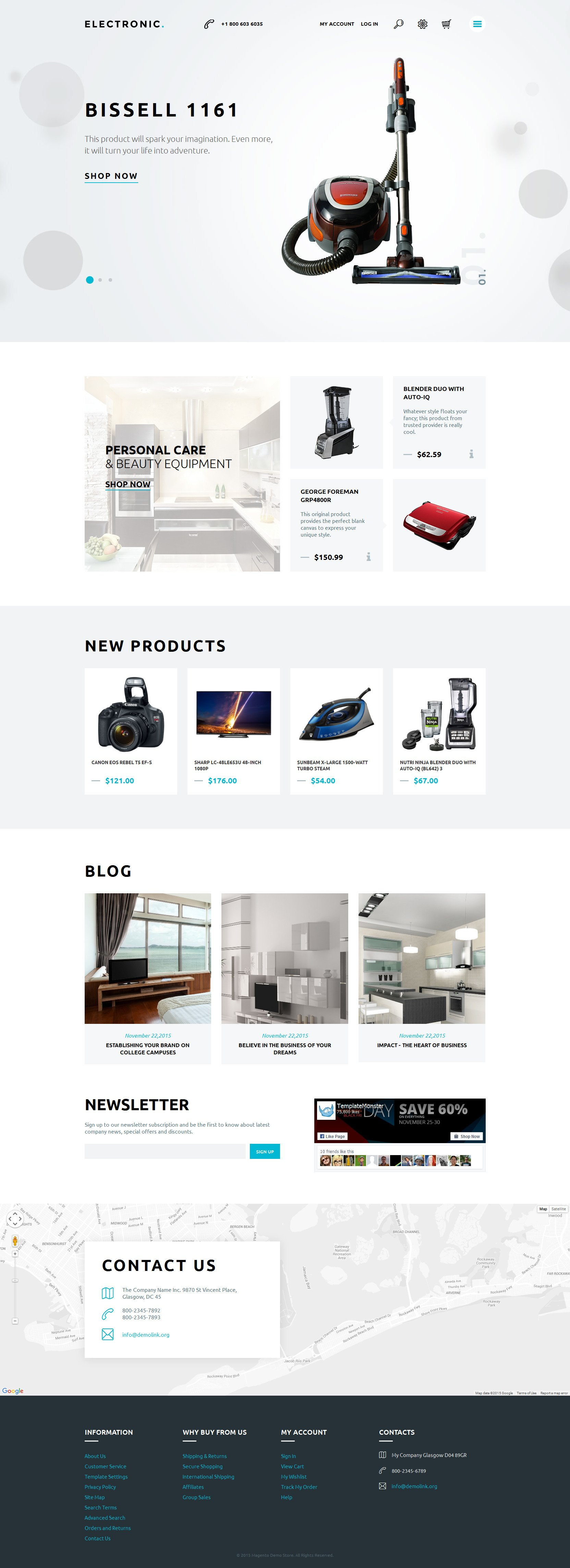 """Home Electronics"" - адаптивний Magento шаблон №57745"