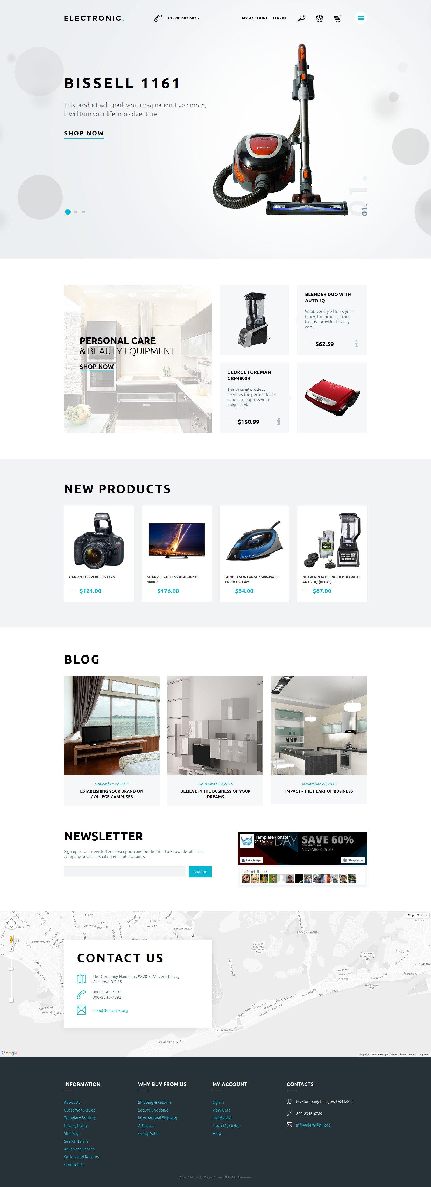 """Home Electronics"" 响应式Magento模板 #57745"