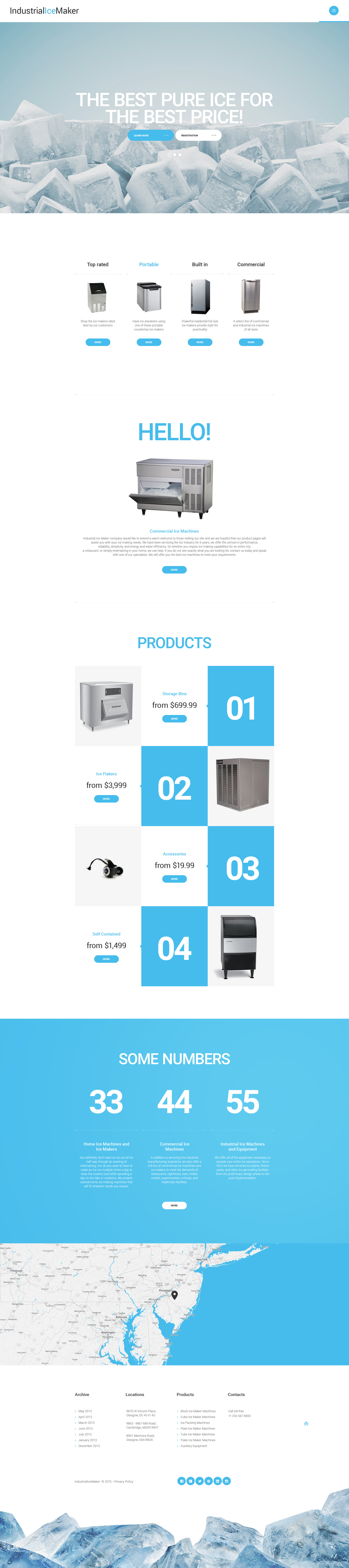 Ice vending machines web template for Website layout creator