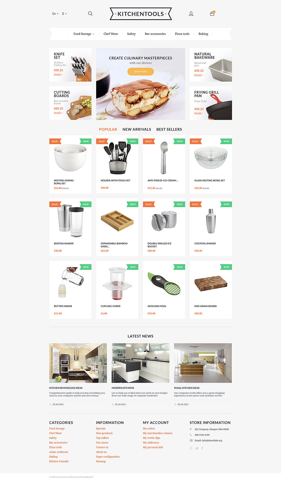 Kitchen Tools PrestaShop Theme New Screenshots BIG