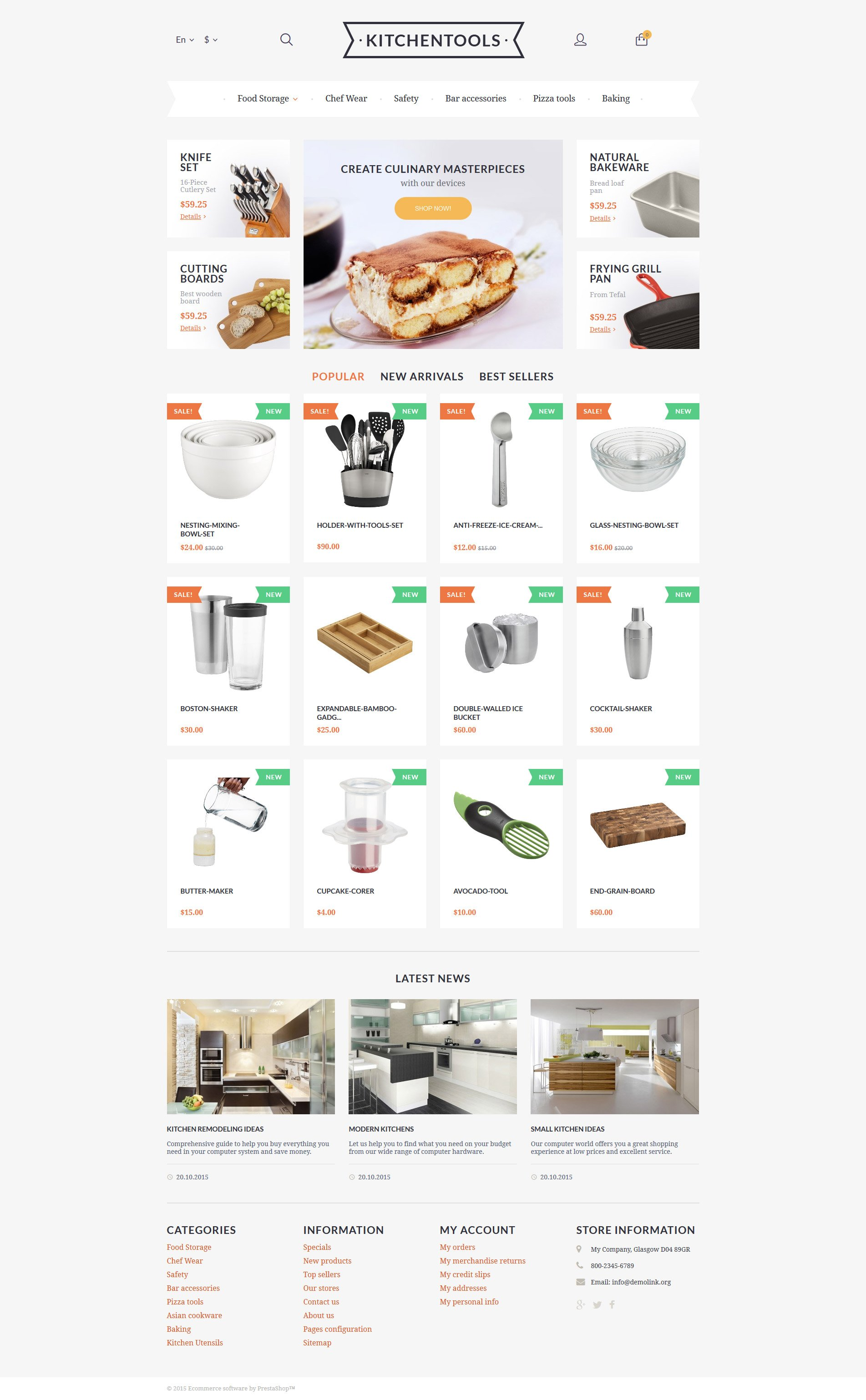 Kitchen Tools PrestaShop Theme - screenshot