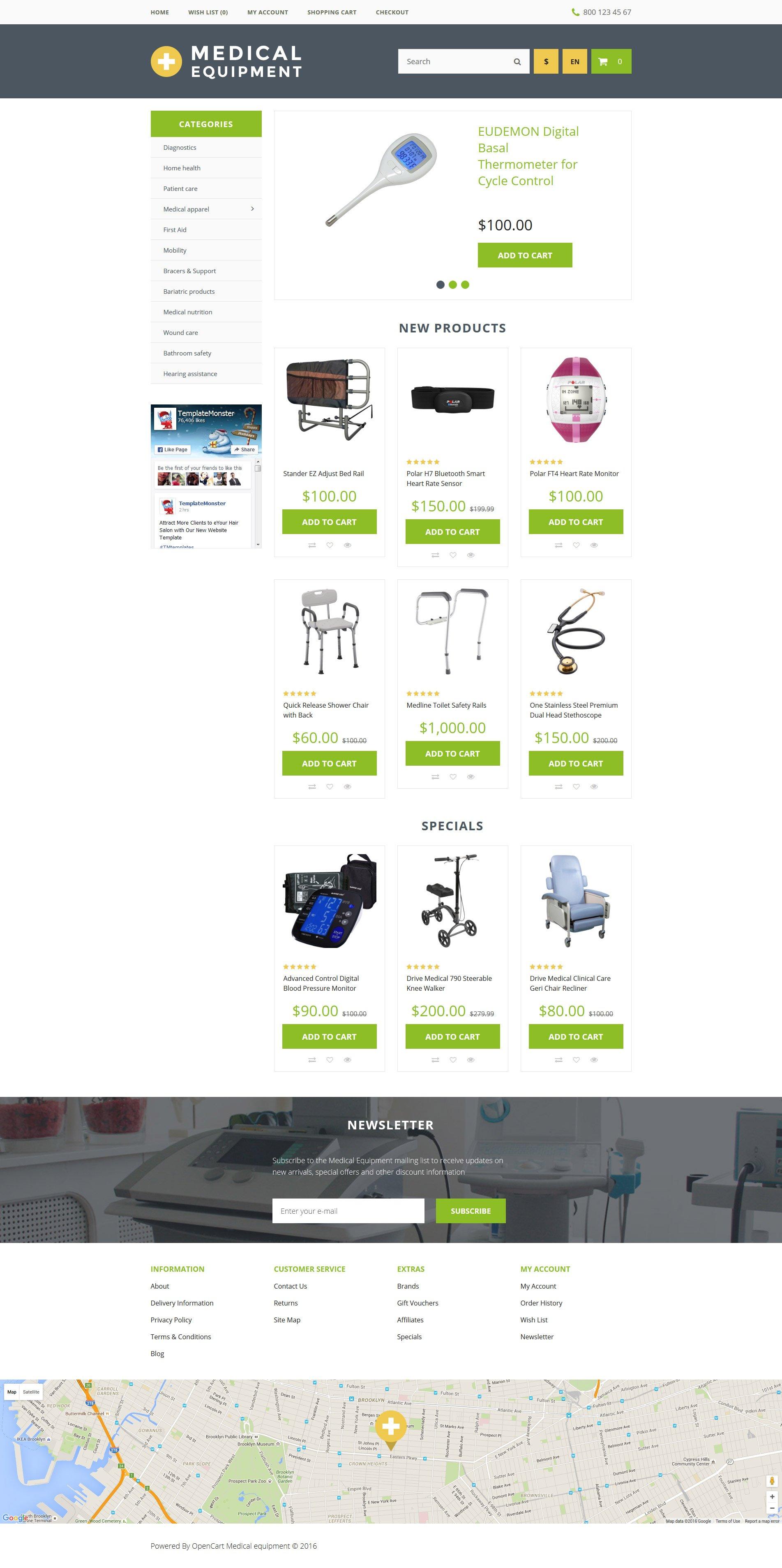 """Medical Equipment"" 响应式OpenCart模板 #57712 - 截图"