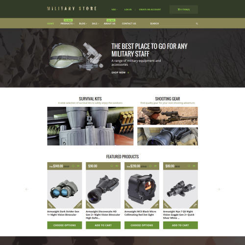 Military Store - Shopify Template based on Bootstrap