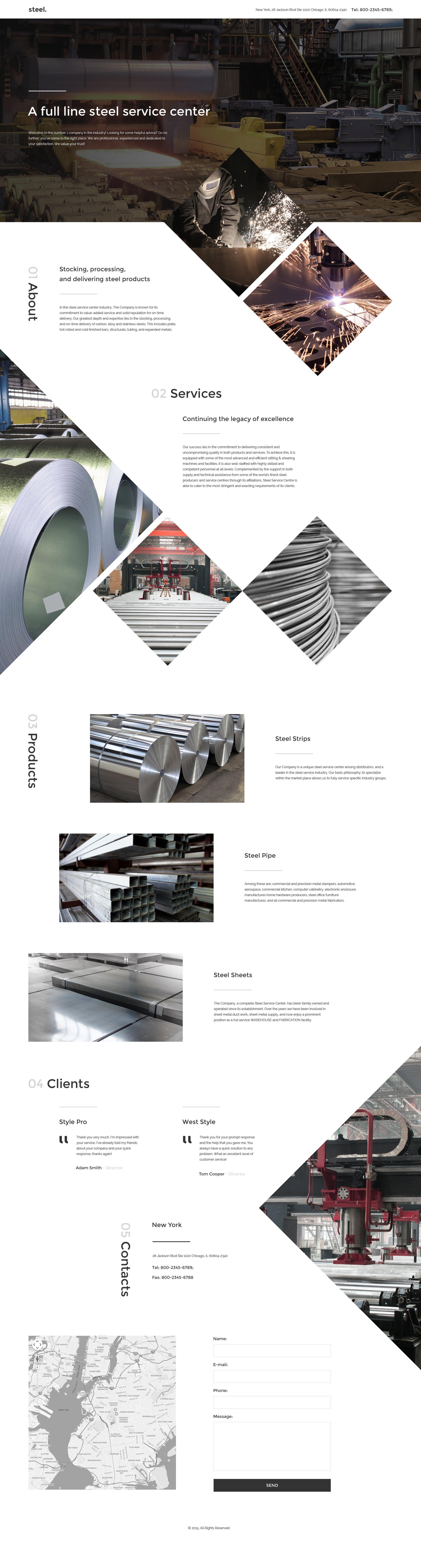 "Modello di Landing Page Responsive #57716 ""Steelworks"""