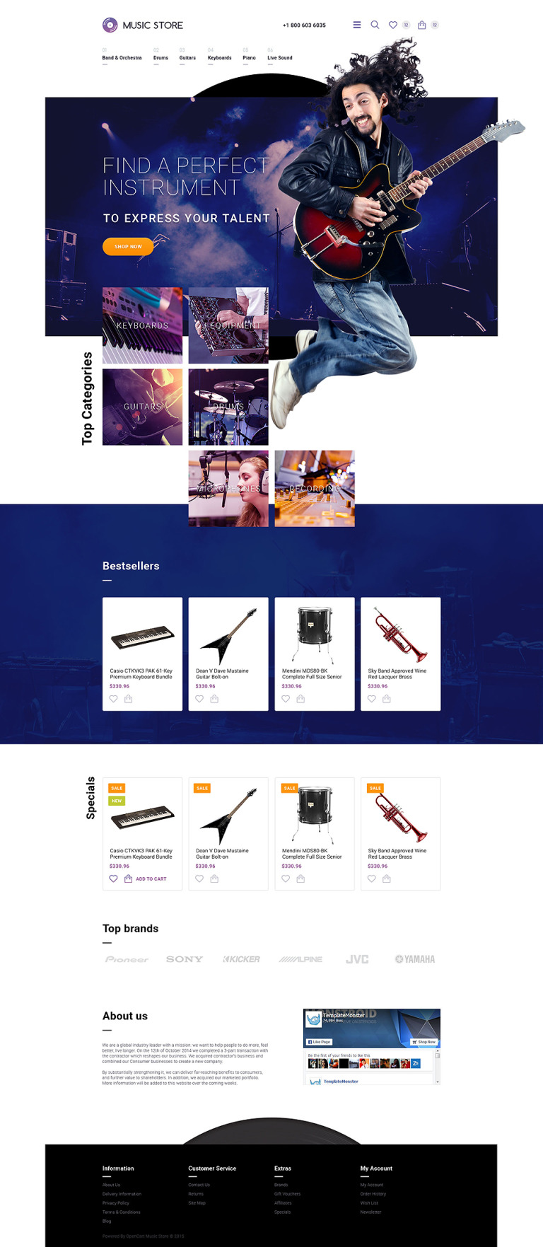 Musical Instruments OpenCart Template New Screenshots BIG