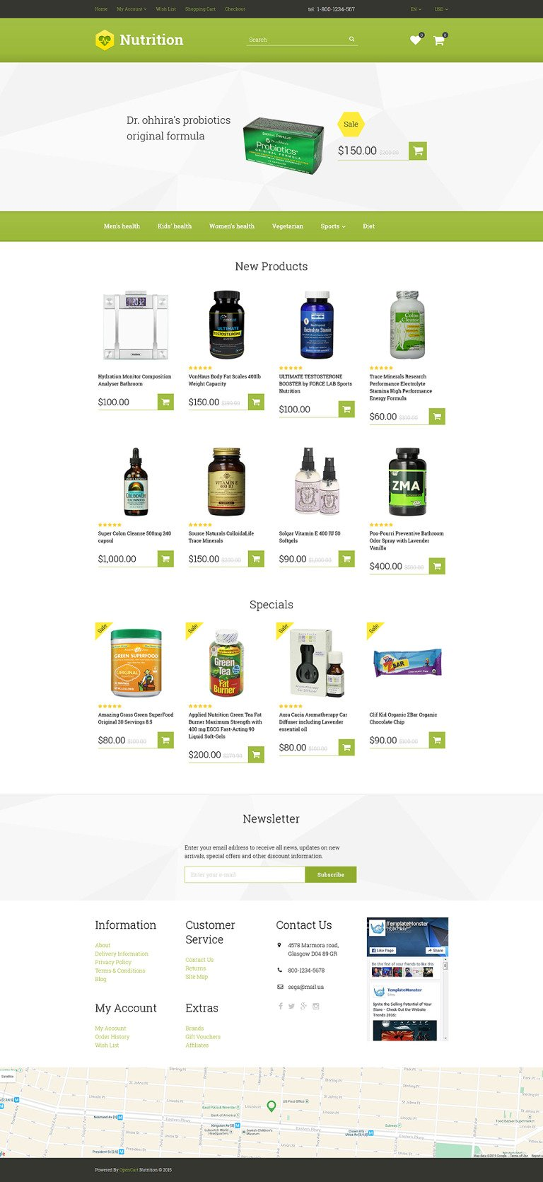 Nutrition/Supplements OpenCart Template New Screenshots BIG
