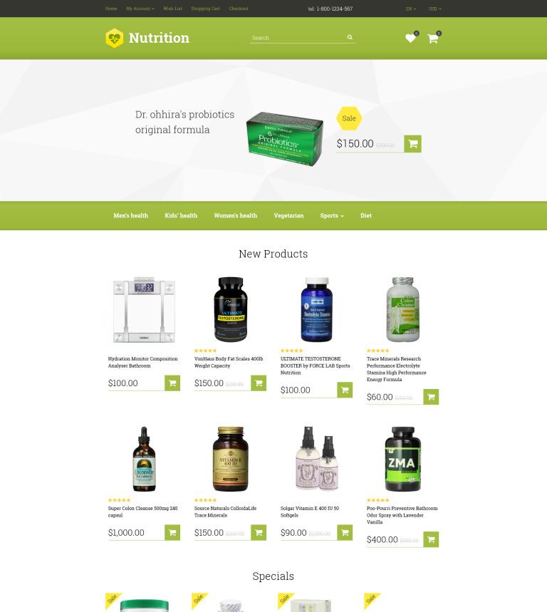 Supplement Store OpenCart Template