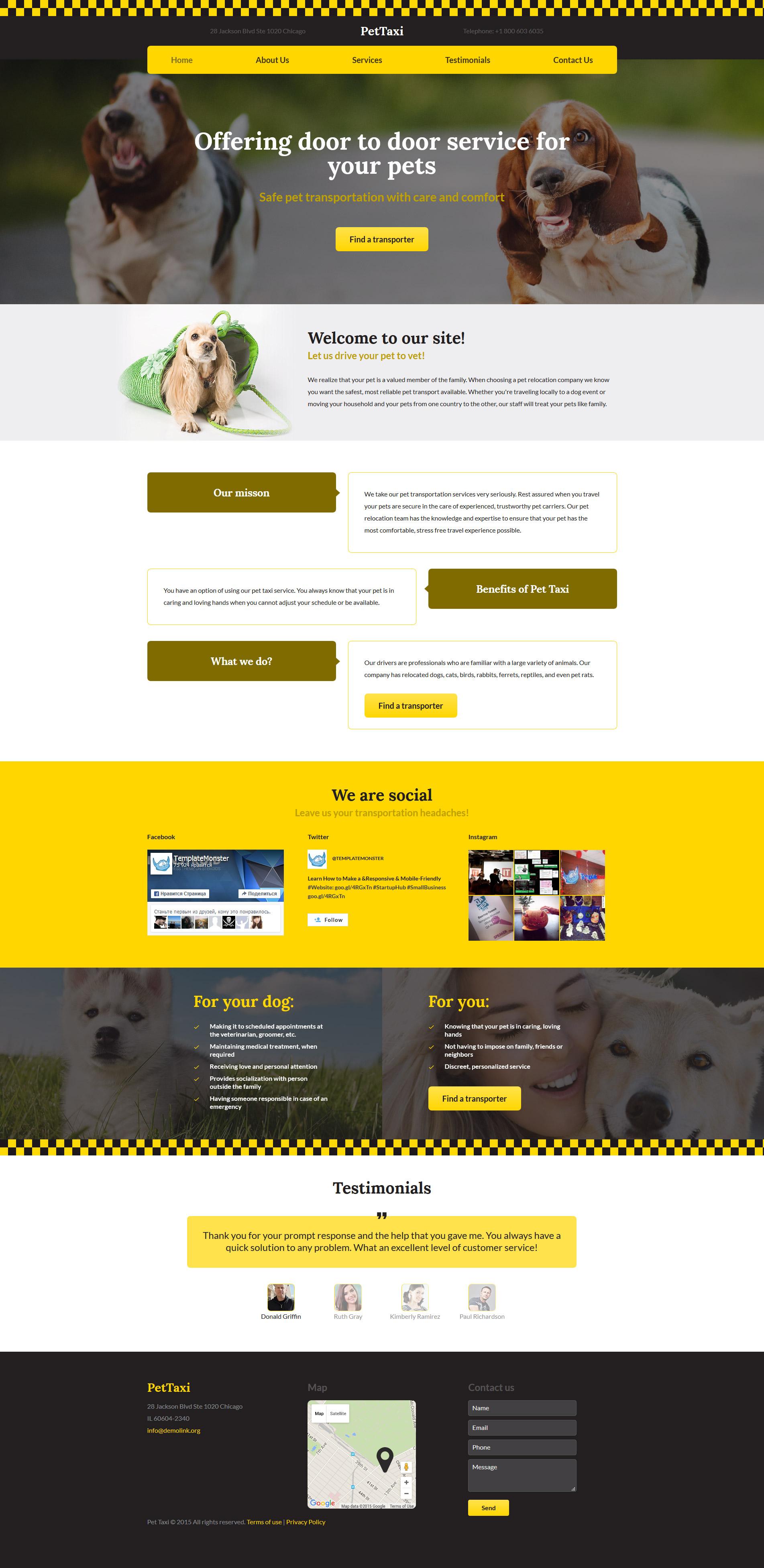 PetTaxi Website Template - screenshot