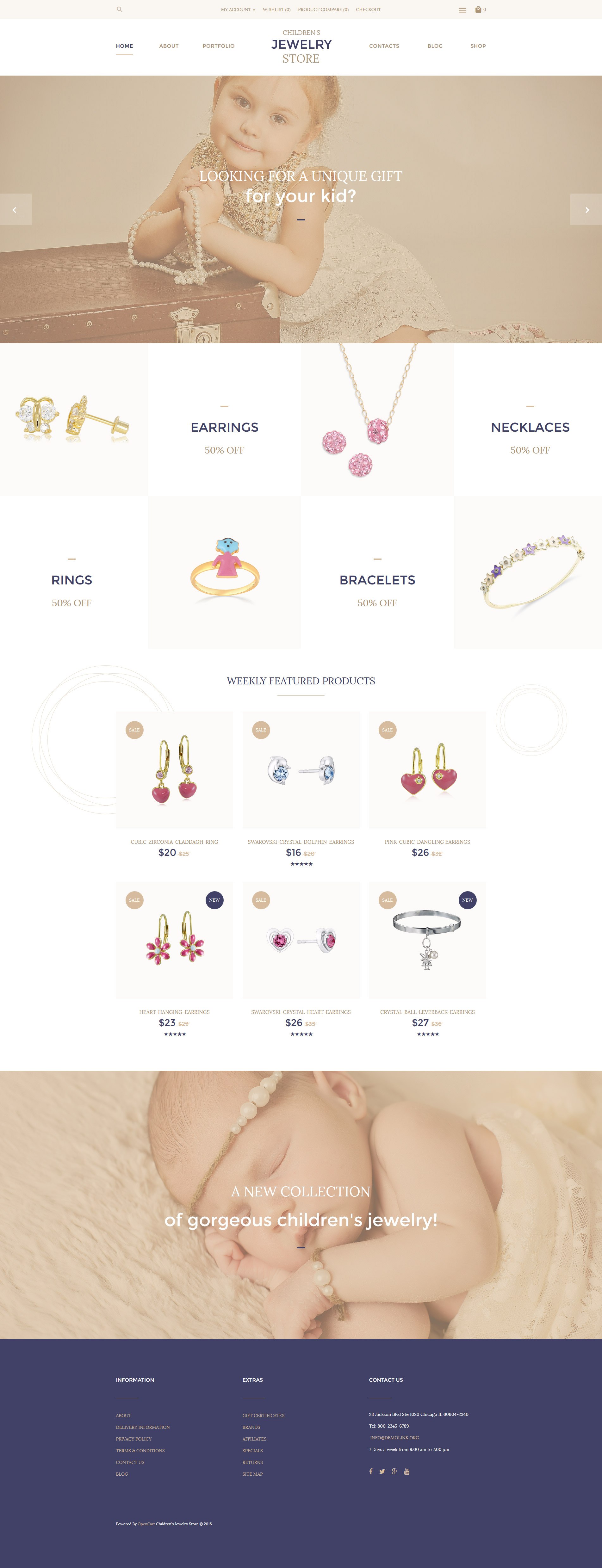 "Plantilla OpenCart ""Children's Jewelry Store"" #57739"