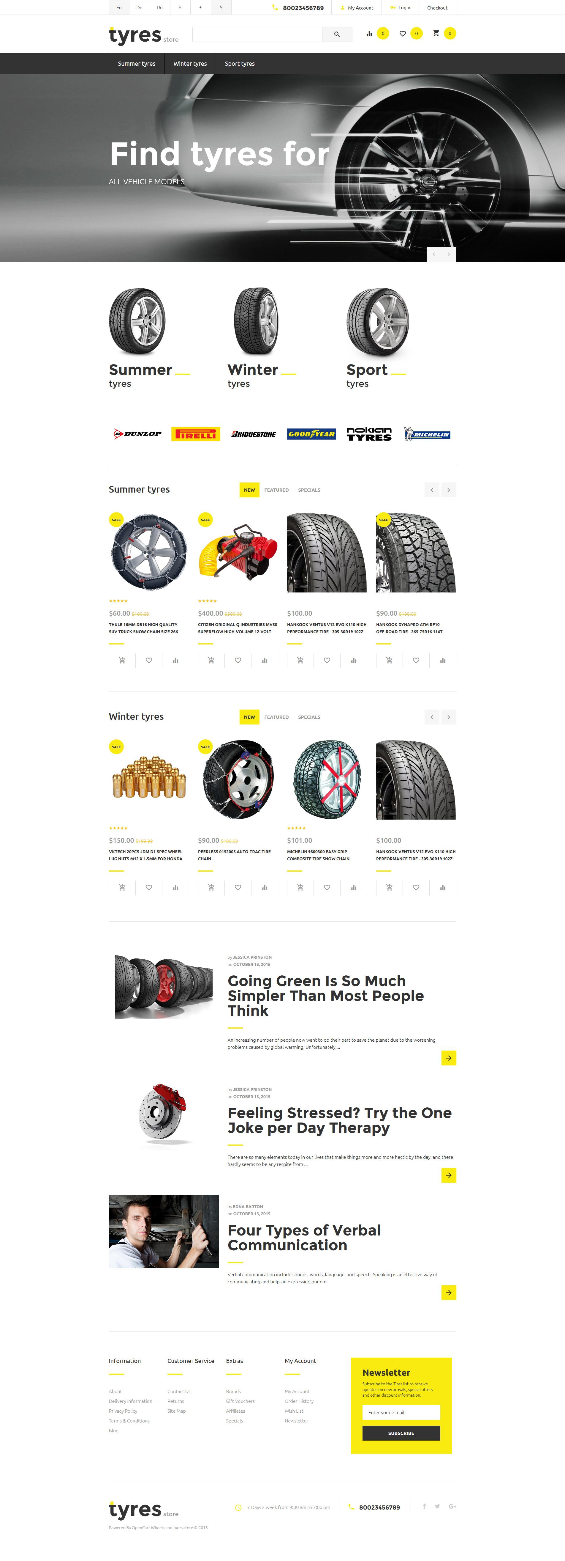 Plantilla OpenCart #57718 para Sitio de Ruedas y neumáticos