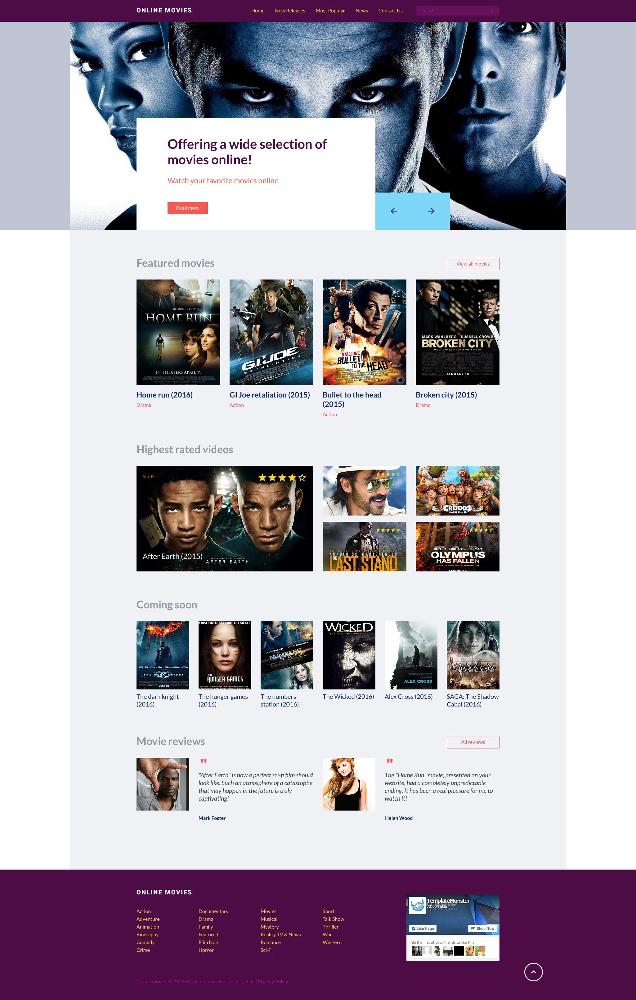 Plantilla Web #57702 para Sitio de Cine