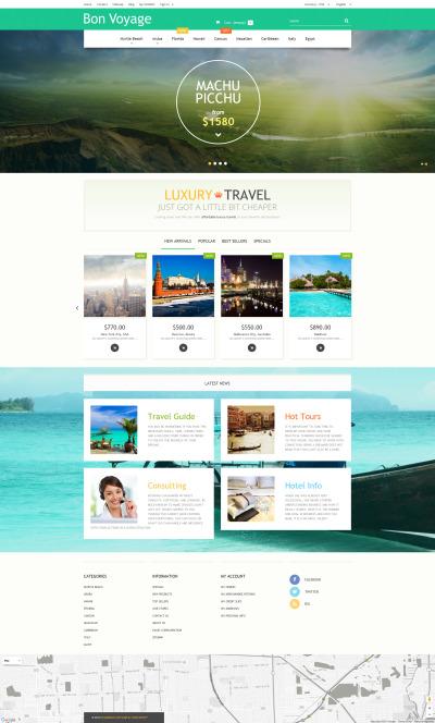 Адаптивный PrestaShop шаблон №57737 на тему агентство путешествий
