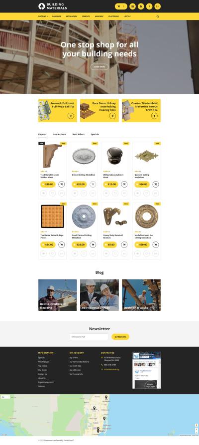 PrestaShop шаблон №57748 на тему строительные материалы #57748