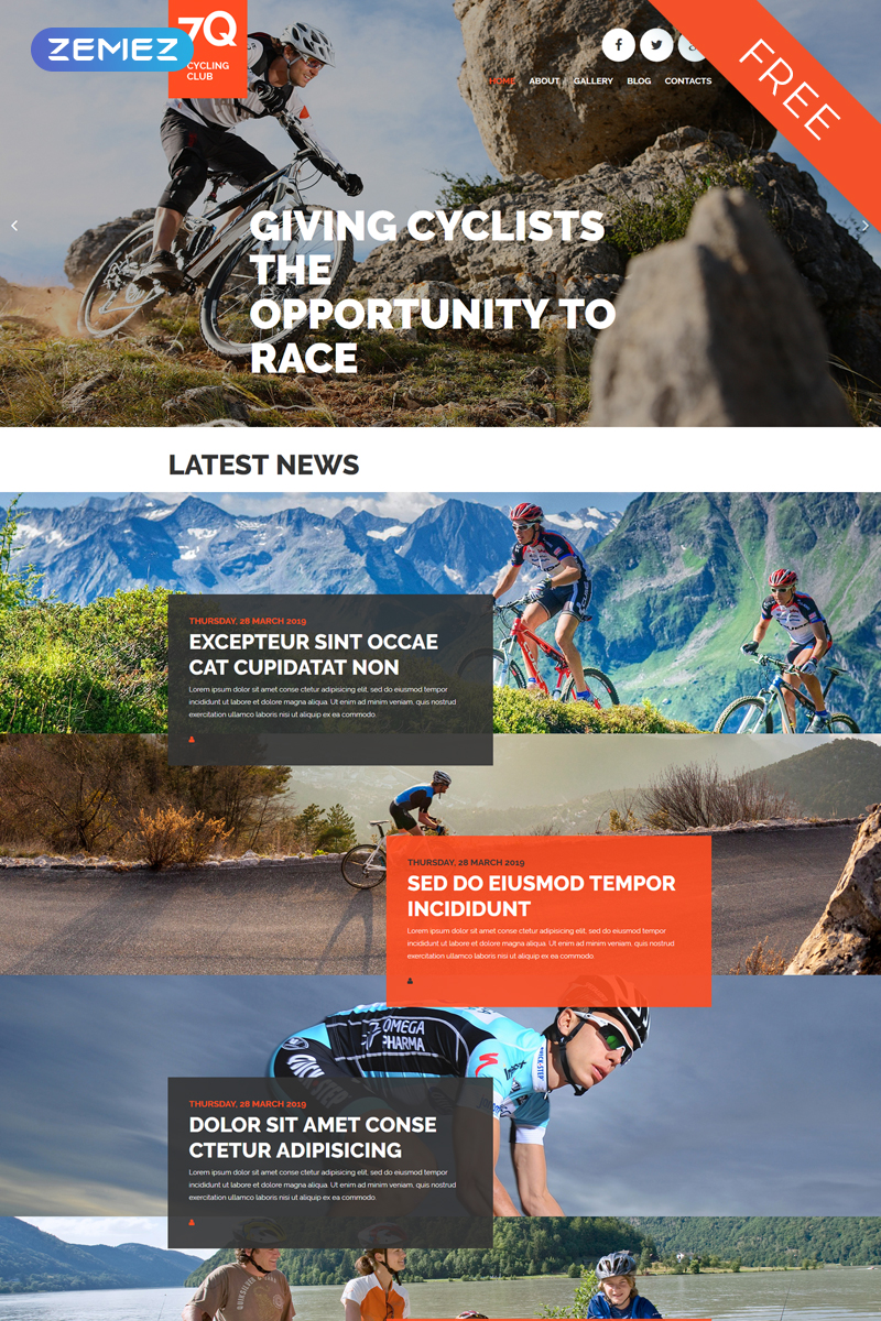 """7Q - Cycling Free Creative Joomla Theme"" - адаптивний Joomla шаблон №57700"