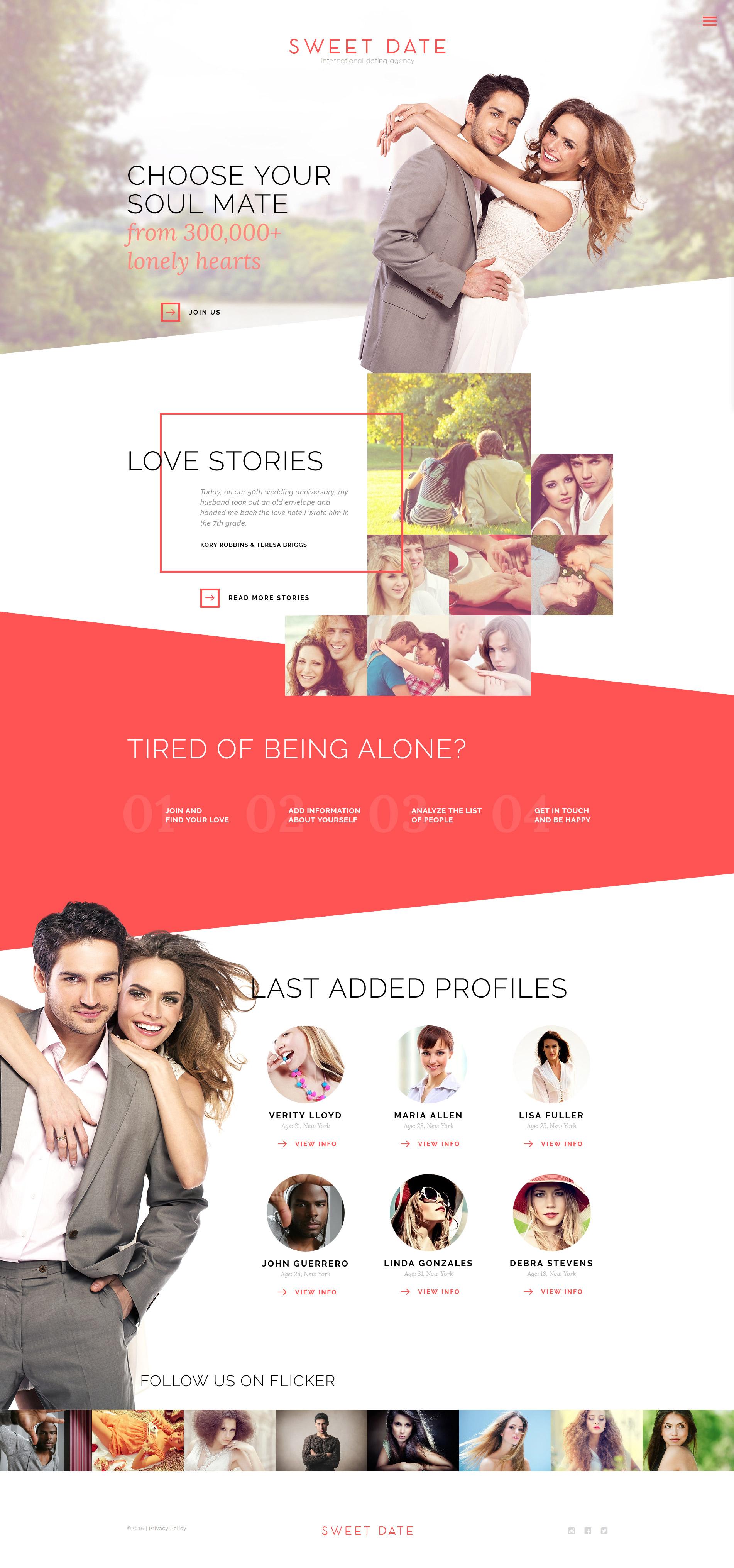 Responsive Website Vorlage für Partnersuche #57746
