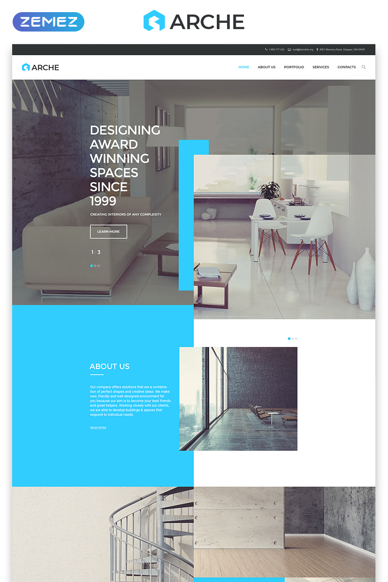 Responsivt Arche - Architecture Responsive Creative HTML Hemsidemall #57791 - skärmbild