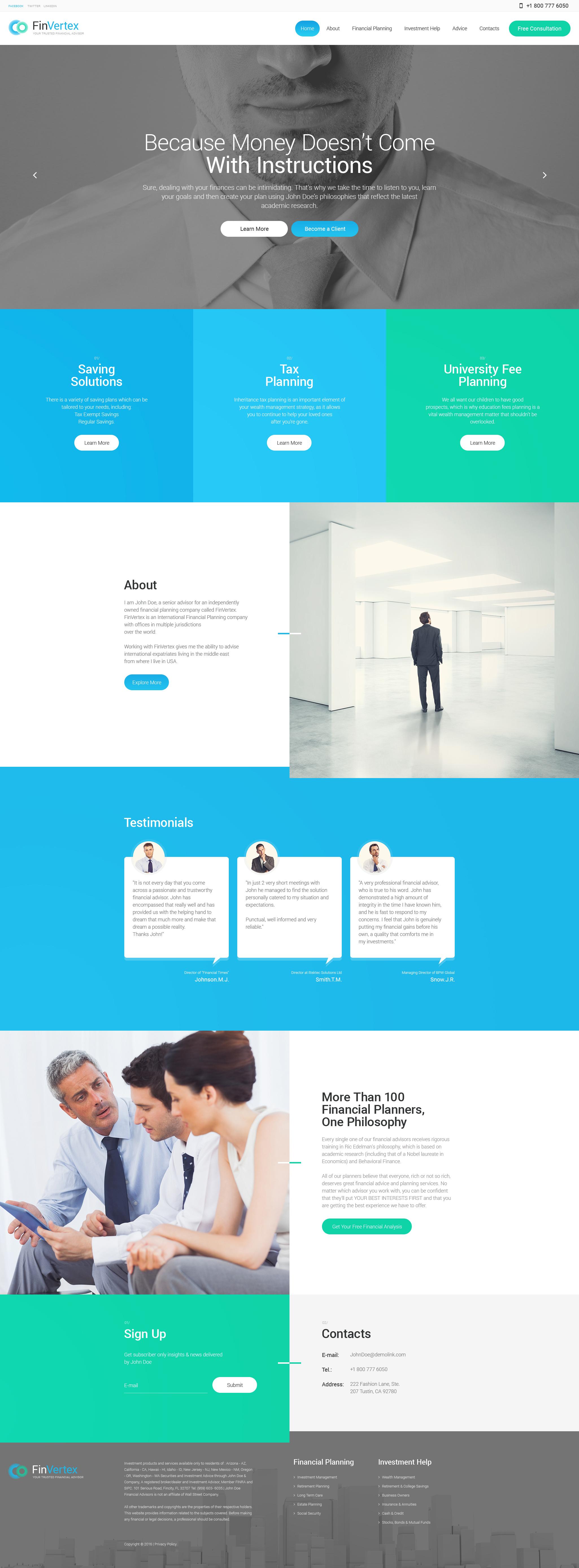 Reszponzív Fin Vertex WordPress sablon 57758 - képernyőkép