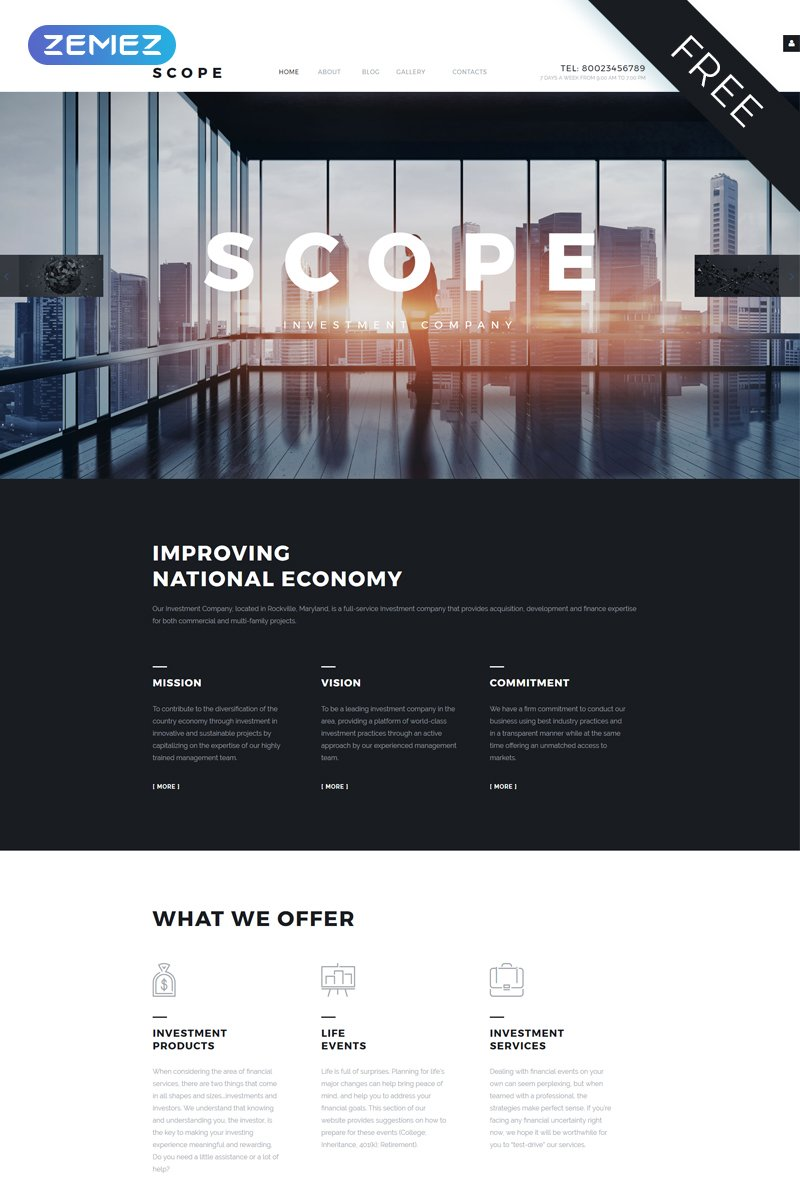 """SCOPE - Investment Company Corporate"" Joomla模板 #57798 - 截图"
