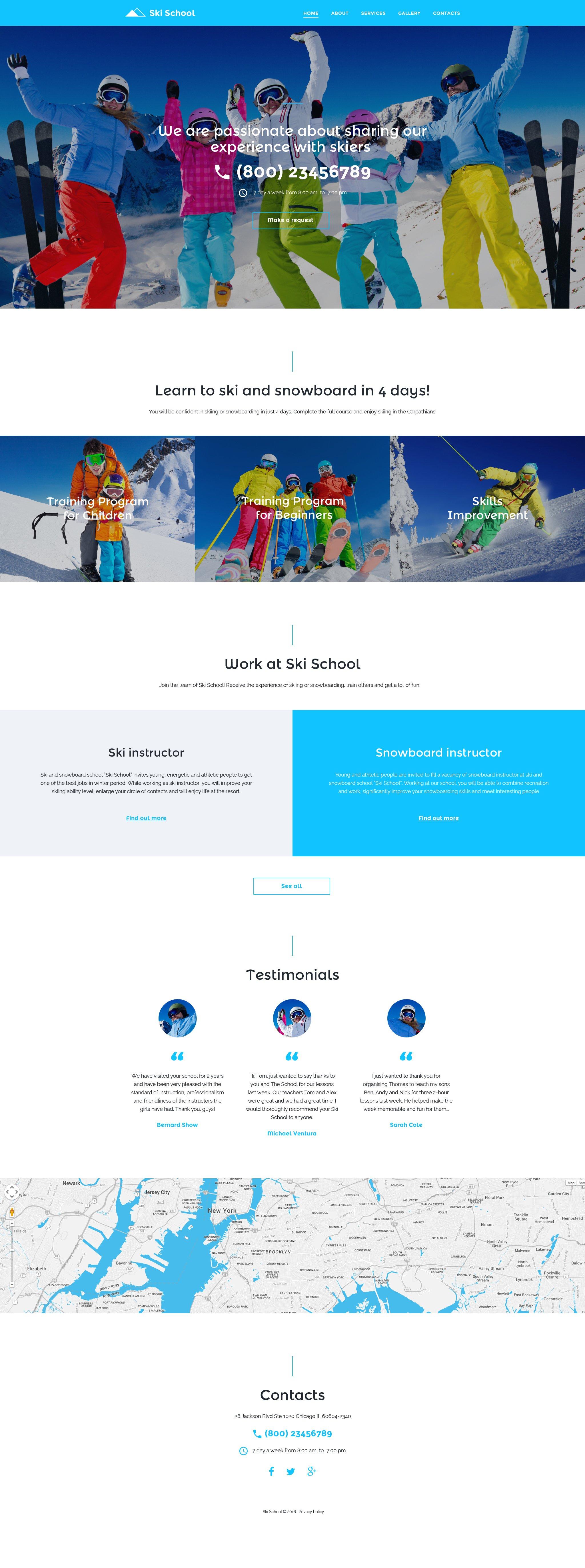 """Ski School"" - адаптивний Шаблон сайту №57787"