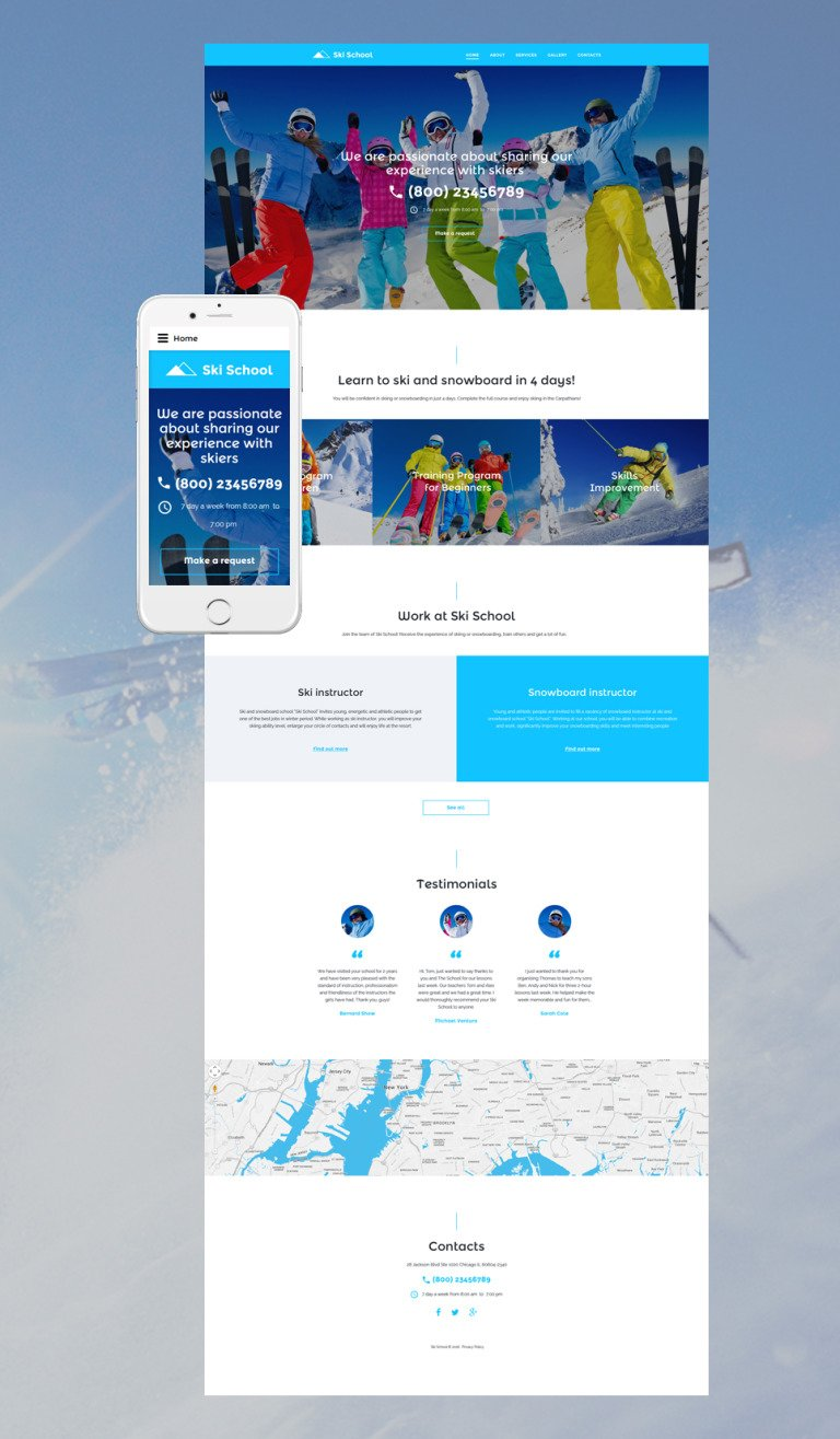 Ski School Website Template New Screenshots BIG