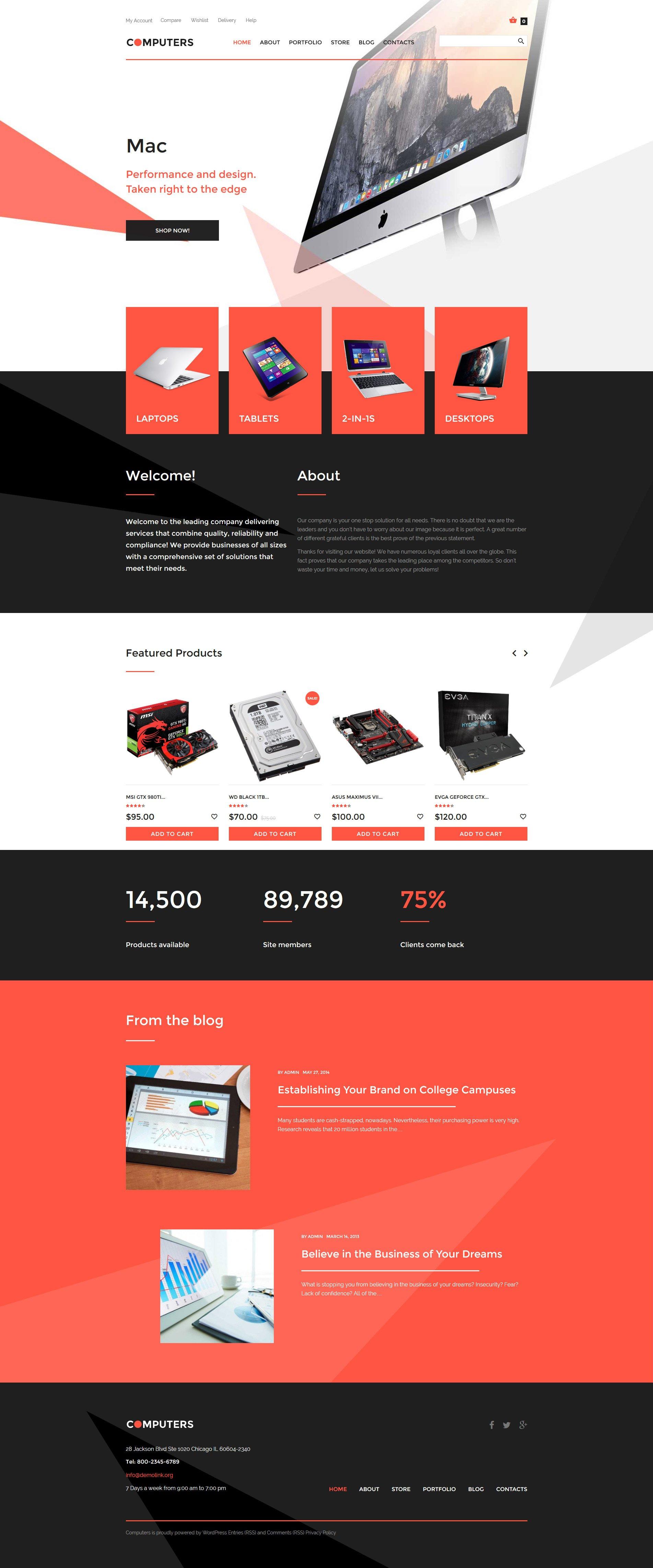 """Tema WooCommerce """"Hardware de Computadora"""" #57763"""