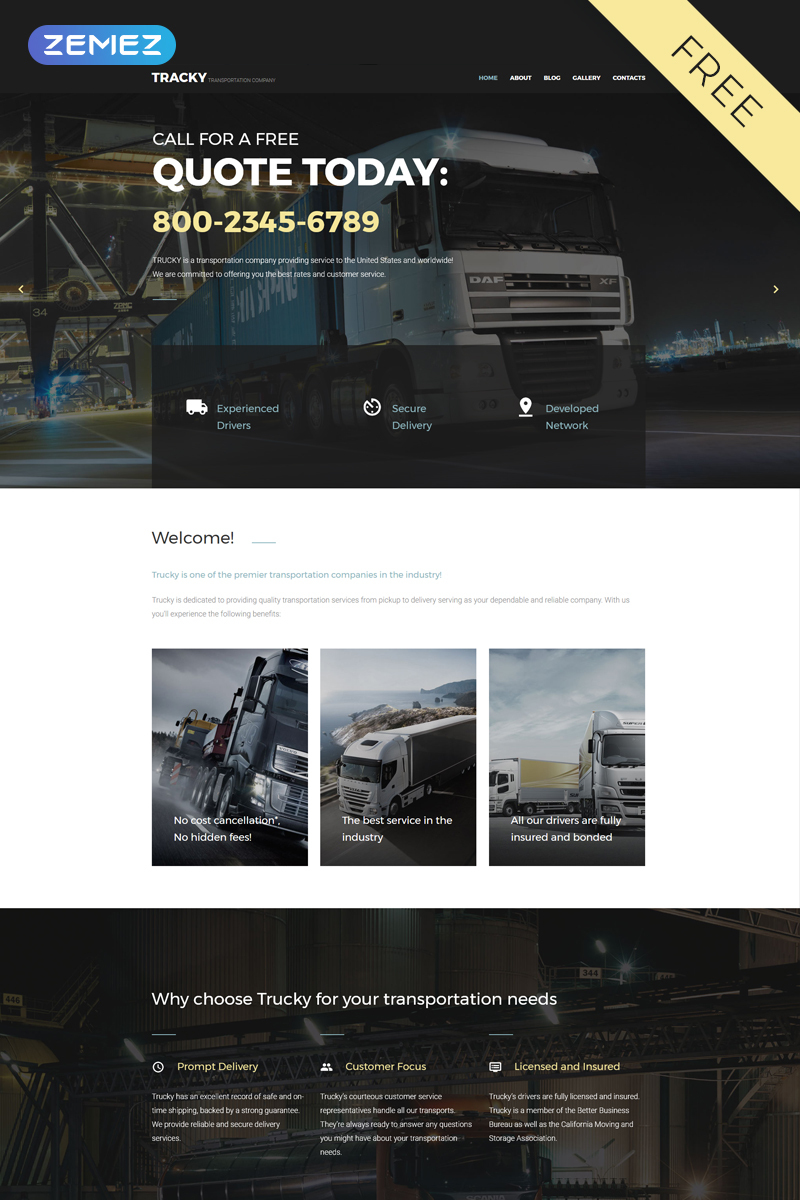 "Template Joomla #57778 ""Tracky - Transportation Free Clean"""