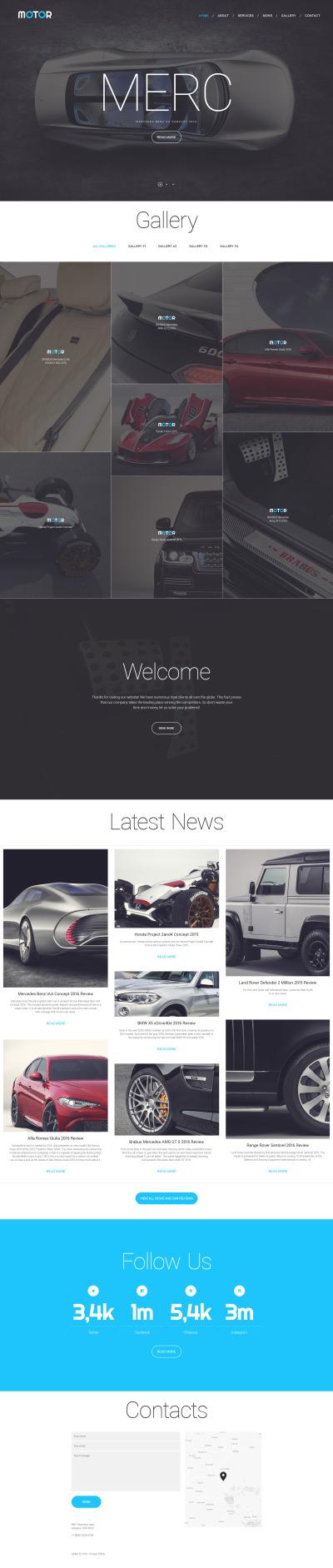 Responsive Website Vorlage für Wagen