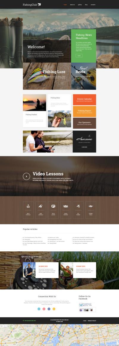 Адаптивный WordPress шаблон №57738 на тему рыбалка