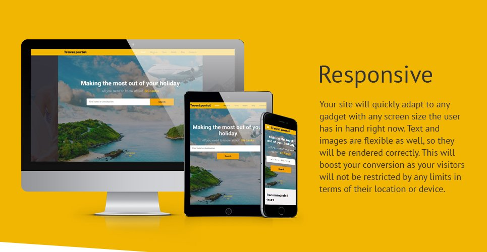 Travel Portal Responsive Website Template with Bootstrap, Dropdown Menu, Gallery