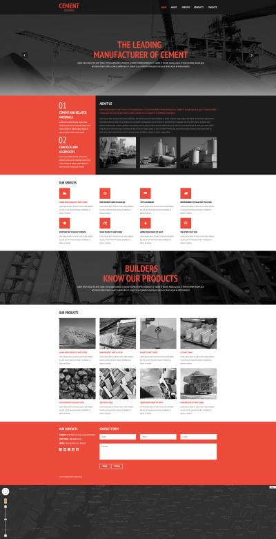 Адаптивный HTML шаблон №57846 на тему цементная продукция