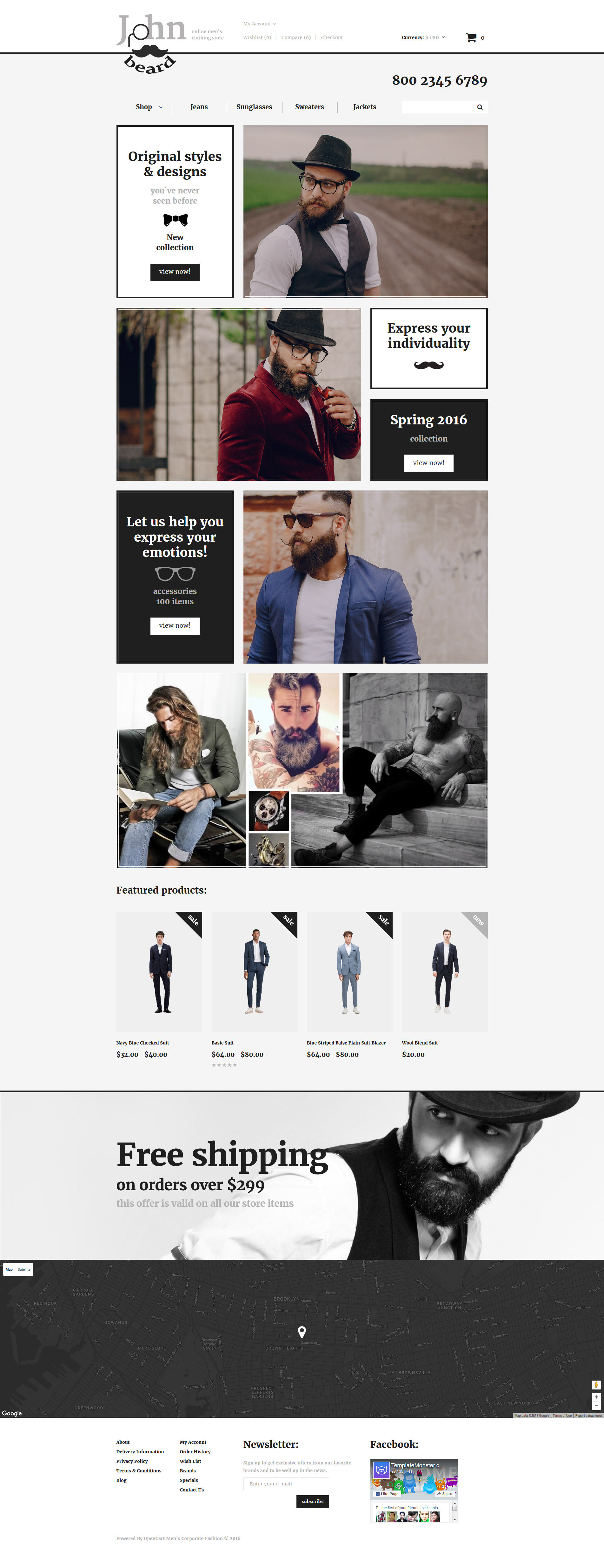 Адаптивный OpenCart шаблон №57887 на тему модный магазин