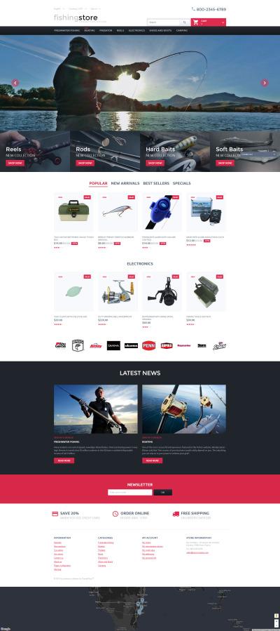 Адаптивный PrestaShop шаблон №57840 на тему рыбалка #57840