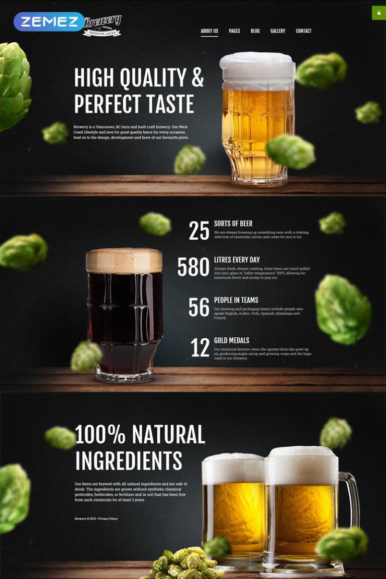 Brewery Responsive Joomla Template New Screenshots BIG