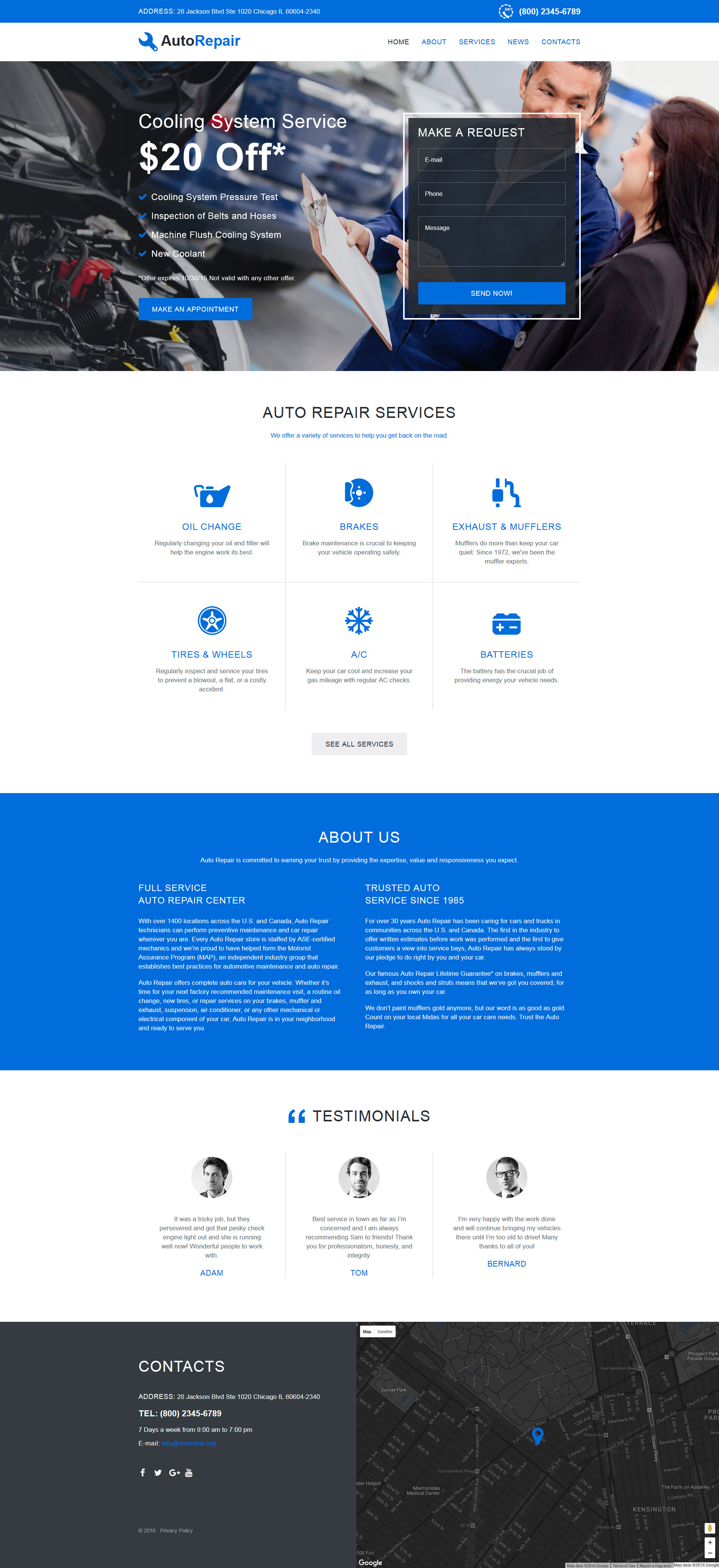 Car repair site template car repair responsive website template maxwellsz