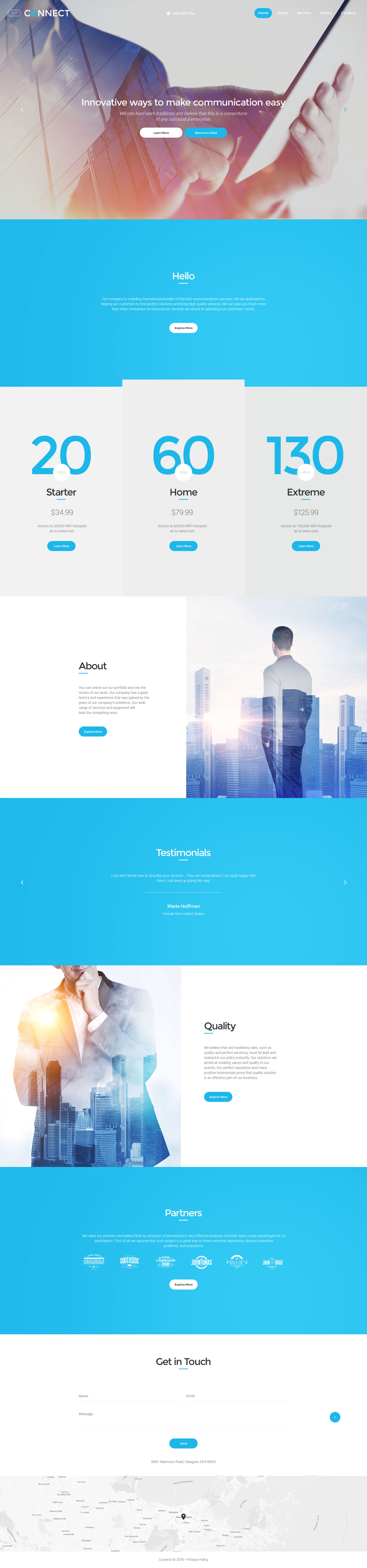 """""""Connect"""" Responsive Website template №57837"""
