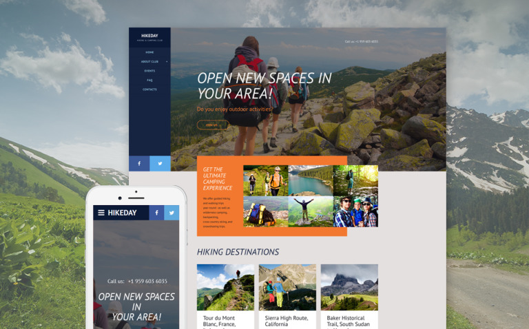 Hikeday Website Template New Screenshots BIG
