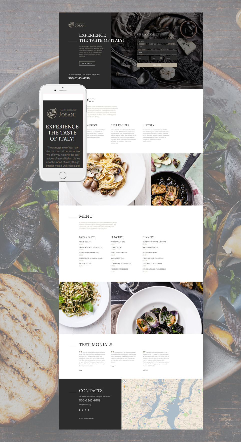 Italian Restaurant Responsive Landing Page Template New Screenshots BIG