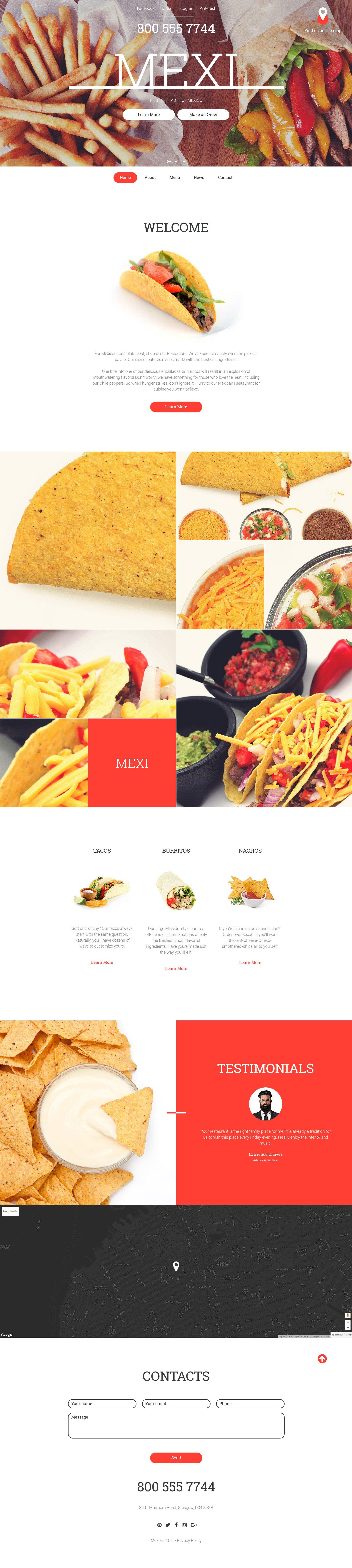 Mexican Restaurant Responsive Website Template