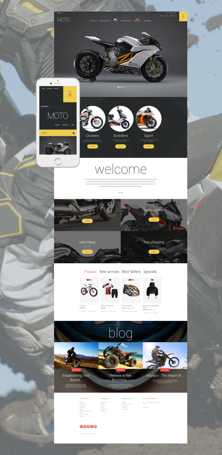 Moto PrestaShop Theme New Screenshots BIG