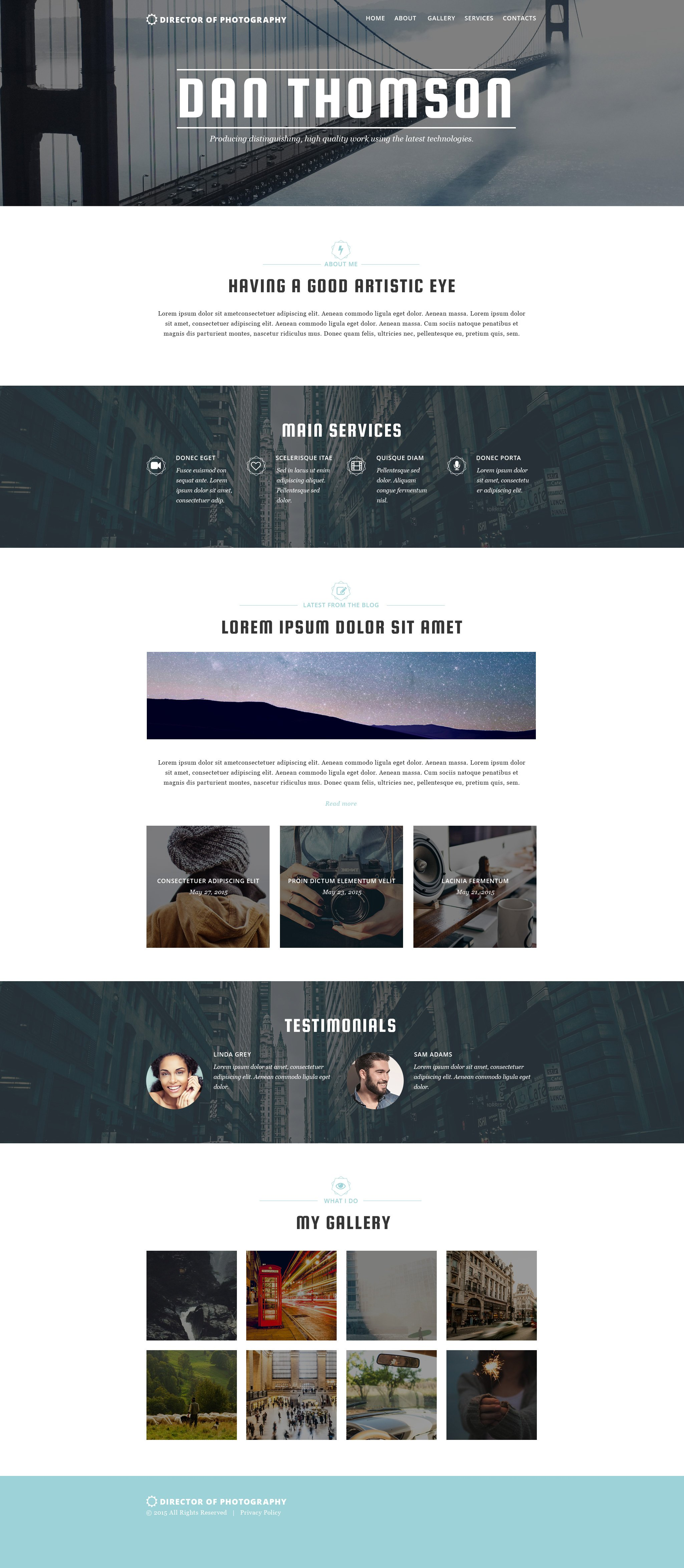 Photography Website Themes with Parallax Scrolling Effect