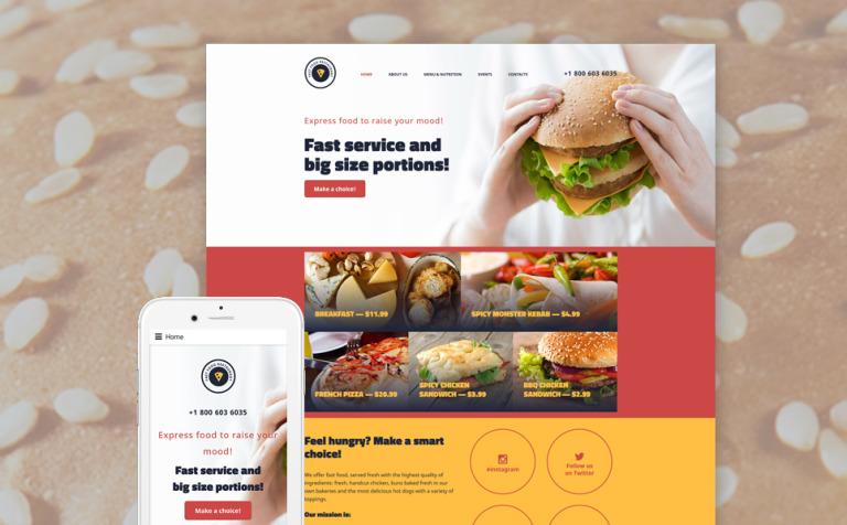 Plantilla Web #57838 para Sitio de Restaurantes de comida rápida