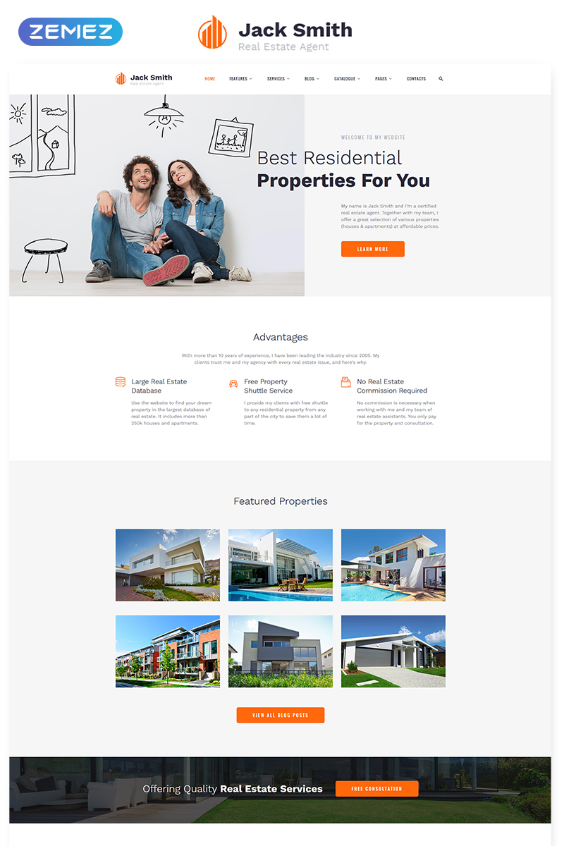 Real Estate Agency Responsive Website Template #57889